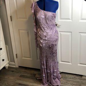 Lillie Rubin purple one shoulder beaded ball gown